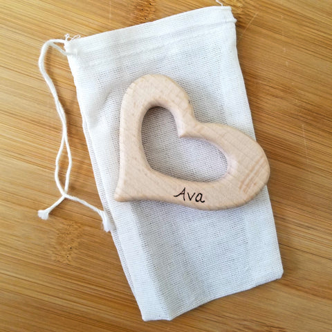 Personalized Organic Beech Teething Ring