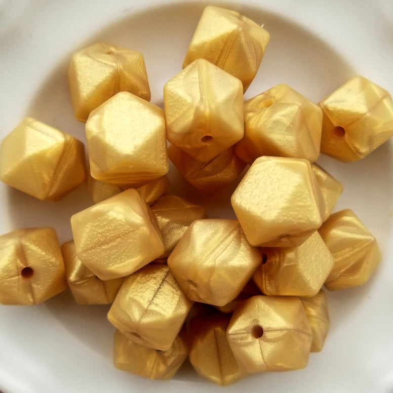 Metallic Gold Silicone Hexagon Beads