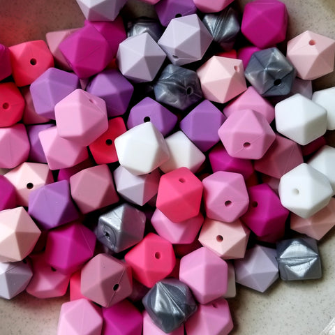 100 Mixed 17mm Hexagon Silicone Beads