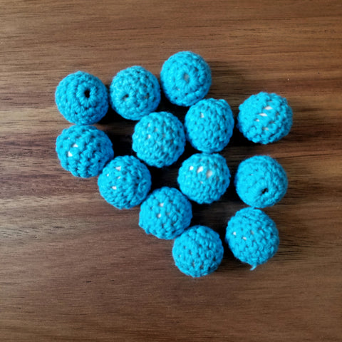 Blue Crochet Maple Beads