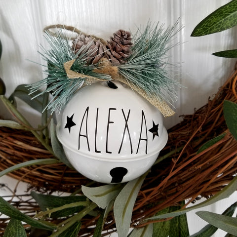 Personalized White Bell Ornament