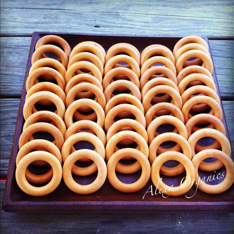 3 inch untreated nontoxic maple wood wholesale wooden teething rings bulk with organic beeswax and olive oil