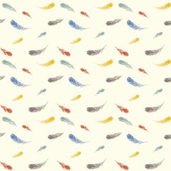 1/2 Yd - Feathers Cream 100% Organic Cotton Fabric