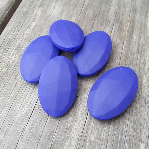 Navy Silicone Flat Oval Beads