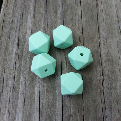 Mint Silicone Hexagon Beads
