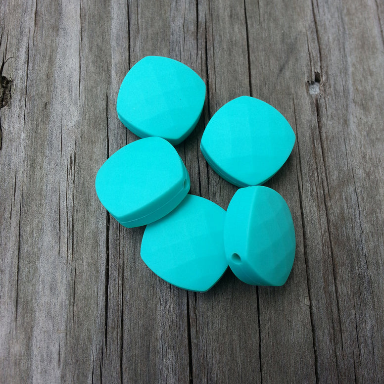 Turquoise Silicone Quadrate Beads
