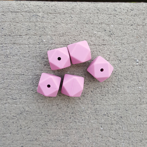 Rose Silicone Hexagon Beads