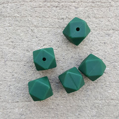 Forest Green Silicone Hexagon Beads