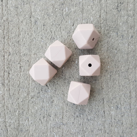 Oatmeal Beige Silicone Hexagon Beads