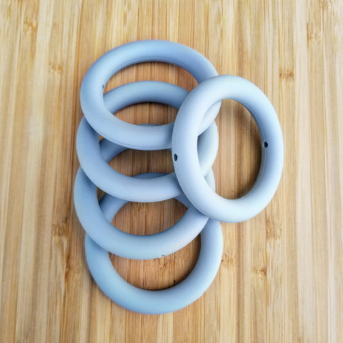 "2.5"" Gray Silicone Teething Ring"
