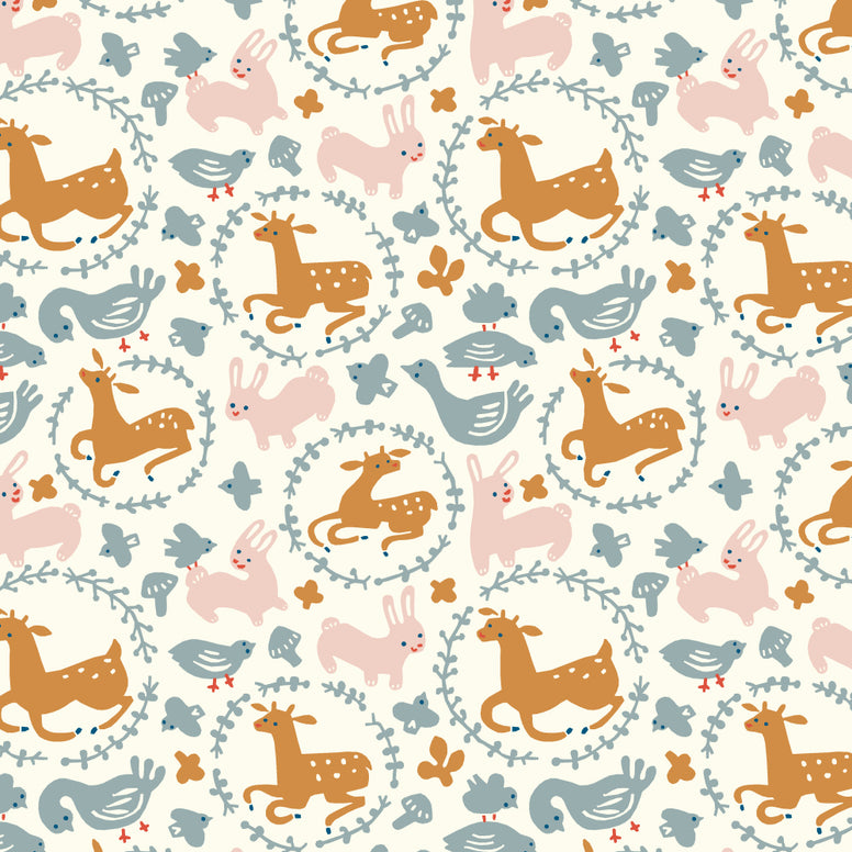 1/2 Yd - Whimsey Burrow Cream 100% Organic Cotton Fabric