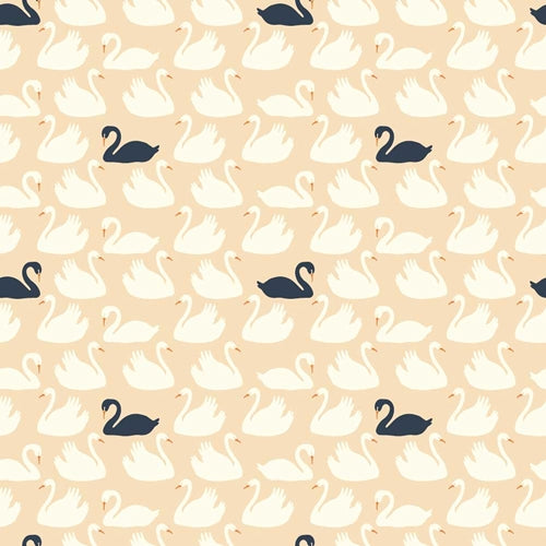 1/2 Yd - Bevy Shell Swan 100% Organic Cotton Fabric