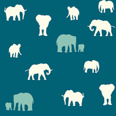 Birch Fabrics Organic Cotton The Herd Teal For Sale By the yard organic elephant fabric