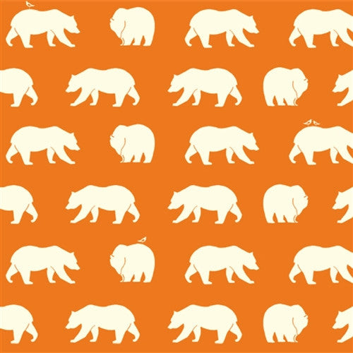 1/2 Yd - Bear Hike Orange 100% Organic Cotton Fabric