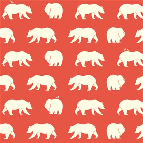 1/2 Yd - Bear Hike Coral 100% Organic Cotton Fabric