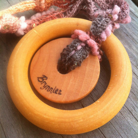 organic natural double ring maple teething ring teether toy personalized engraved