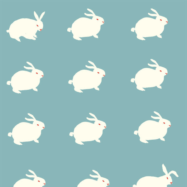 1/2 Yd - Rabbit Aqua 100% Organic Cotton Fabric