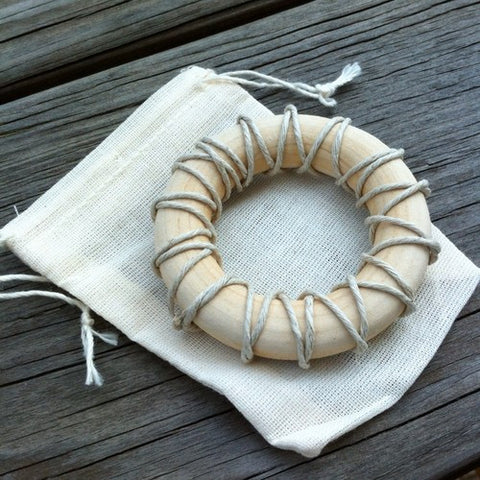 natural hemp laced maple wood baby teething ring
