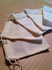 100% Organic Cotton Small Muslin Drawstring Bags