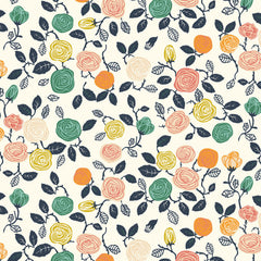 1/2 Yd - Roses Cream 100% Organic Cotton Fabric