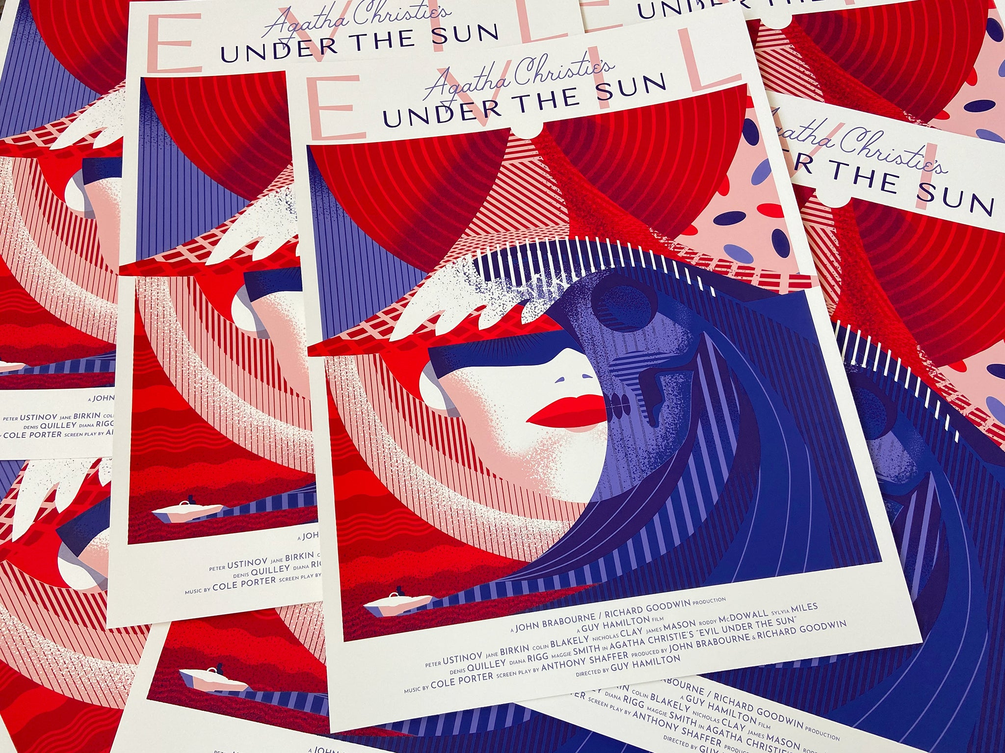 Agatha Christie's Evil Under the Sun edition by WBYK, screen printed by White Duck Editions, commissioned by Black Dragon Press