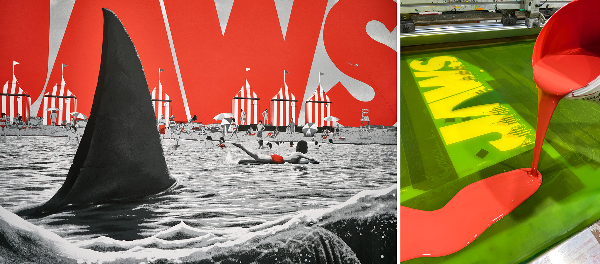 Jaws screen print edition by Florrey printed by White Duck Editions for Vice Press and Bottleneck Gallery
