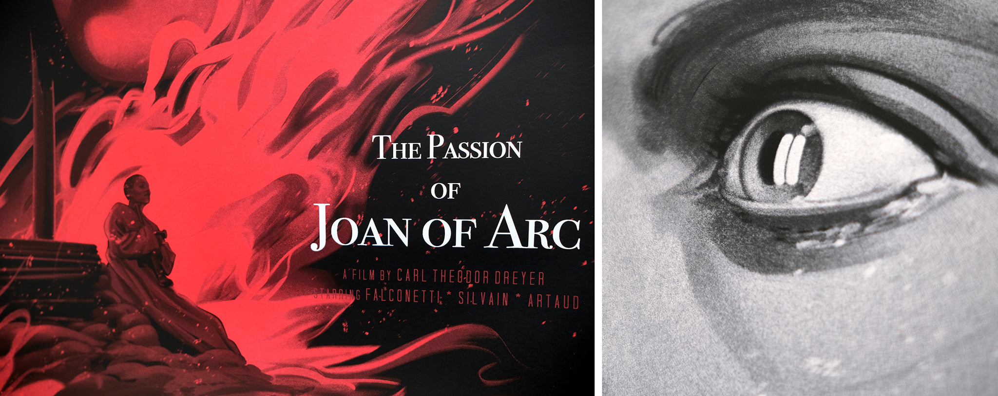 The Passion of Joan of Arc is a new screen print edition by Zi Xu, commissioned by Black Dragon Press & Mondo. Screen Printed by White Duck Editions.