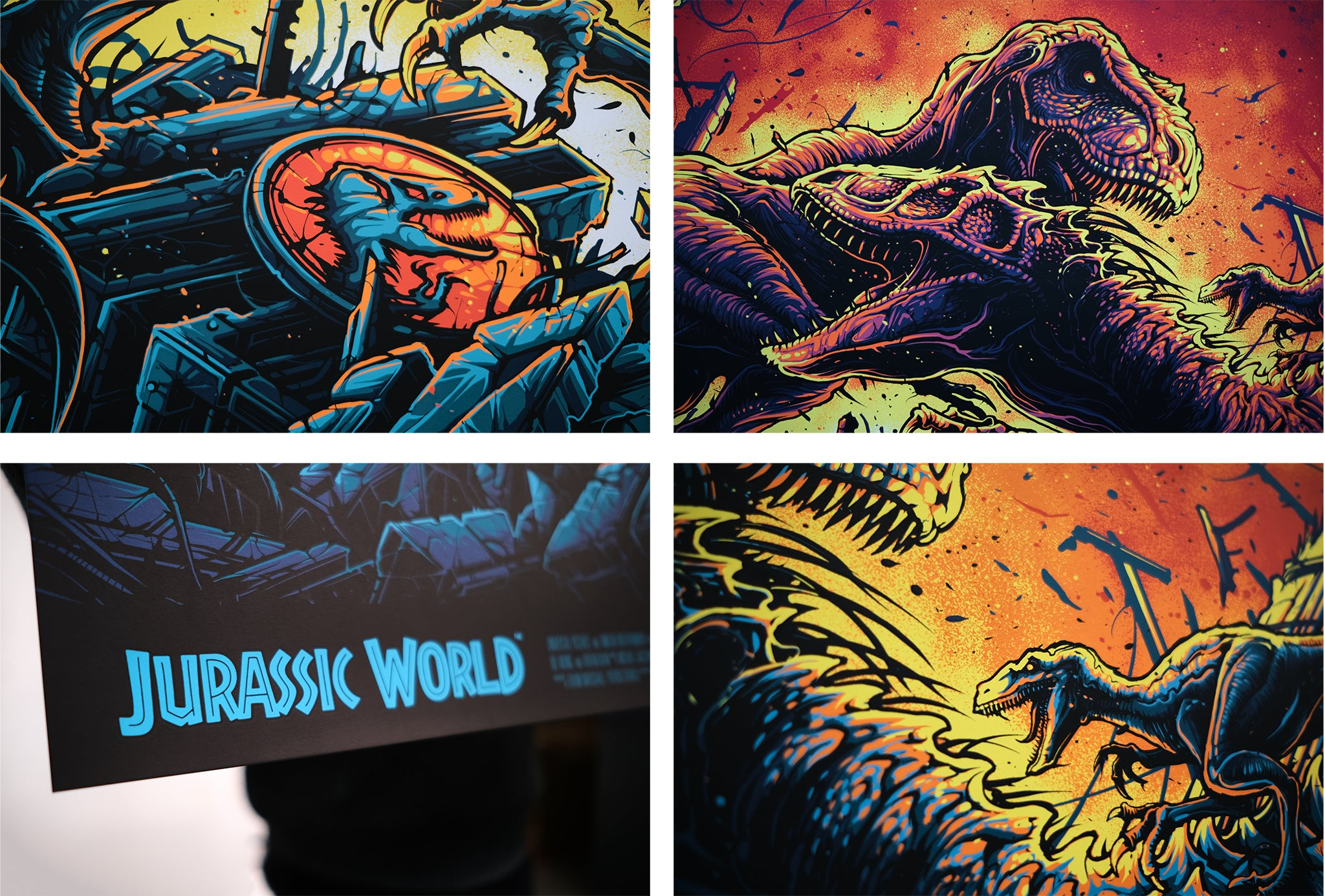 Jurassic World screen printed posters by Dan Mumford, Printed by White Duck Editions for Zavvi Gallery.