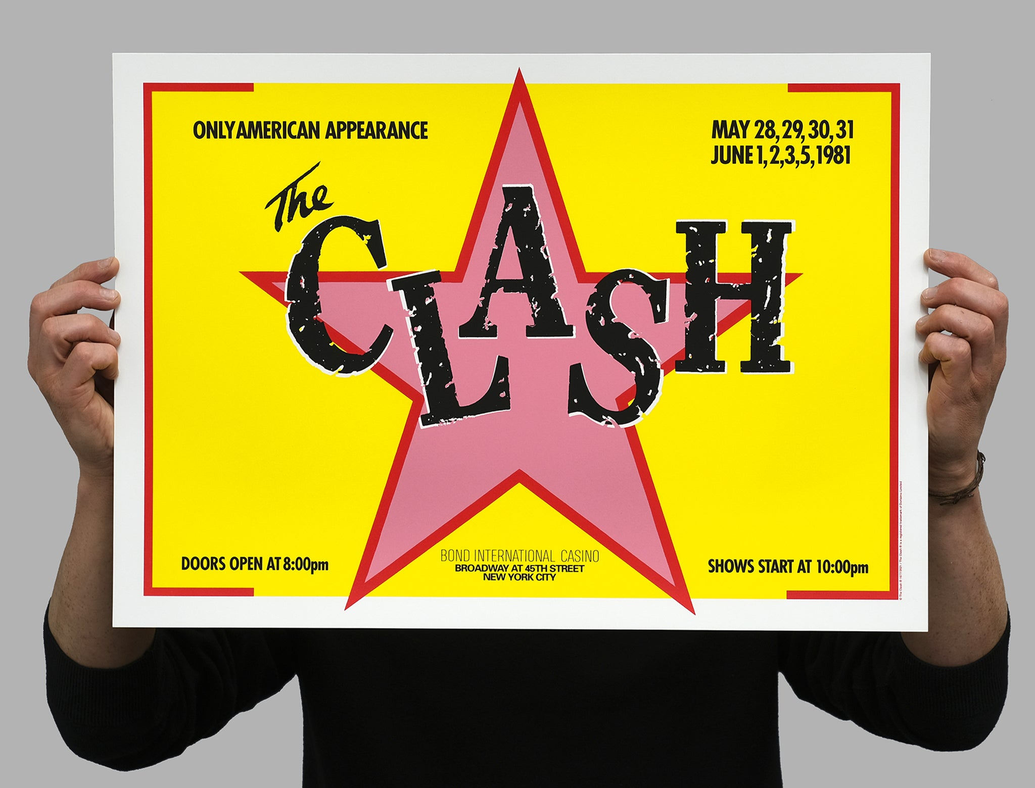 The Clash, Bonds international 40th anniversary limited edition silkscreened poster. White Duck Editions.
