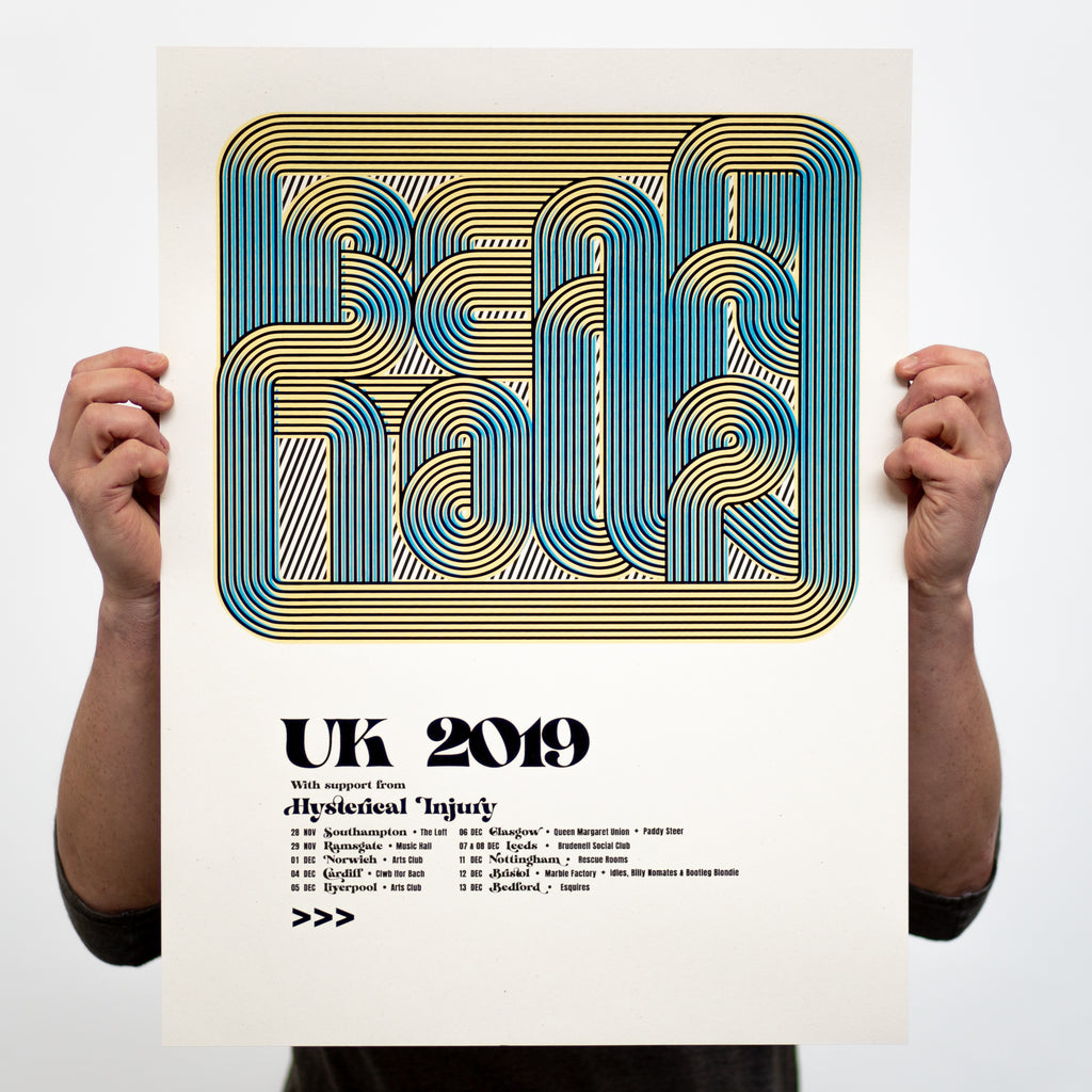 BEAK> UK 2019 Tour Poster - White Duck Editions - Limited Edition Art & Screen Print