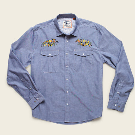 Howler x Helms Workshop Gaucho Snapshirt - Indigo with Flora & Coral Snake