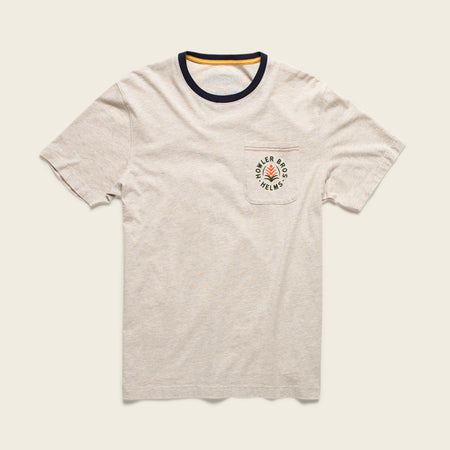 Howler x Helms Workshop T-Shirt - Ash with Navy Neck Ring - Indian Paintbrush