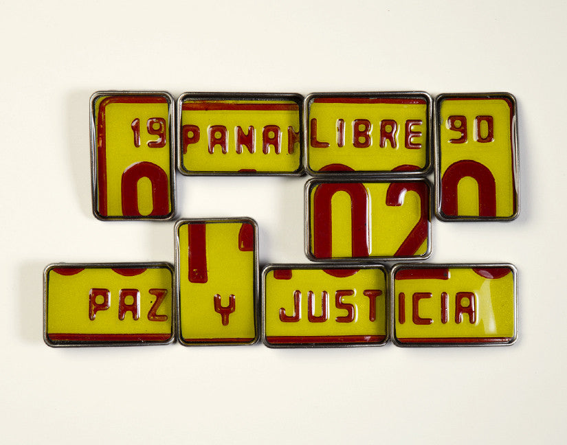 License Tag Buckle - Panama Amarillo