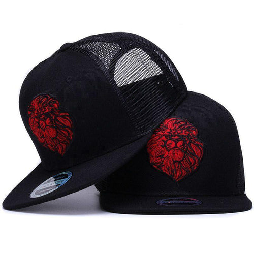 R&Black Lion embroidery trucker snap-back