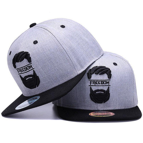 Freedom bearded man on snap-back cap