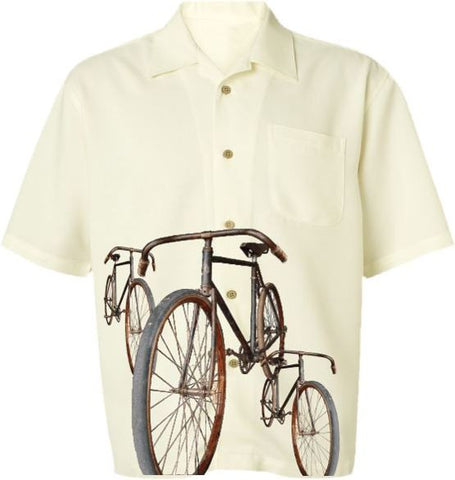 Vintage Rides Cycling  Men's Casual Bicycle Shirt in Ivory