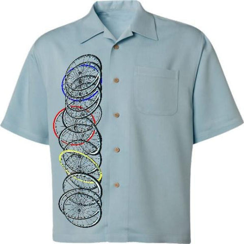 Spokes and Wheels Men's Casual Bicycle Shirt in Blue