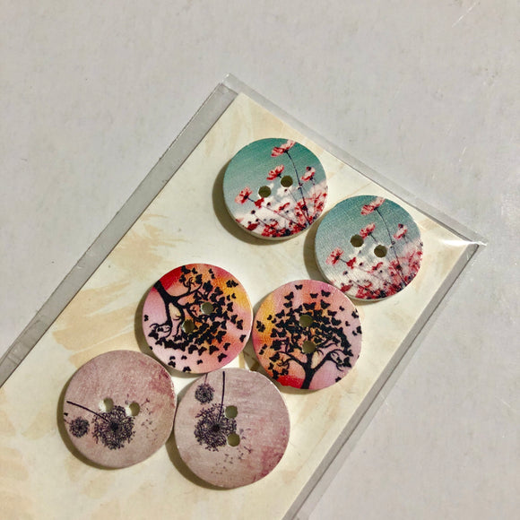 Trees Flowers Buttons
