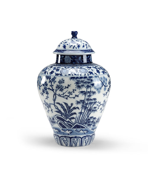 Blue and White Floral Jar // * Free Shipping