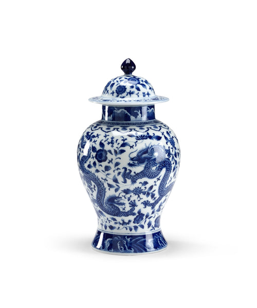 Blue and White Covered Jar //  * Free Shipping
