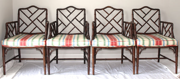 Set of 4 Faux Bamboo Chinese Chippendale Chairs