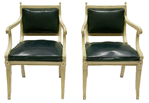 French-Style Leather Armchairs