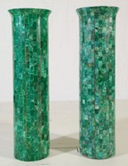 Maitland Smith Emerald and Brass Pedestals
