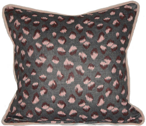 KW Feline Pillow in Graphite/Rose & Schumacher Velvet