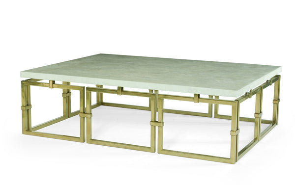 Brass Link and Stone Cocktail Table // Please contact us for pricing