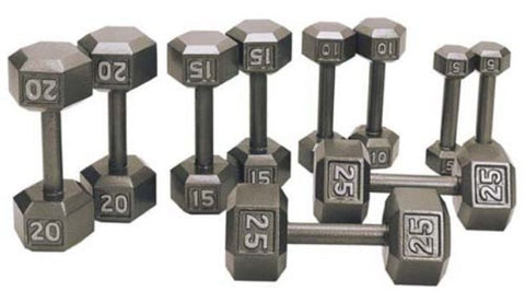 5 - 100 Lb Cast Iron Hex Dumbbell Set by Cemco Fitness, Cast Iron Hex Dumbbells