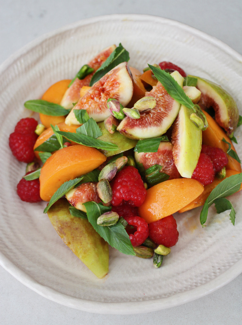 Fig, Apricot, Raspberry and Pistachio Fruit Salad