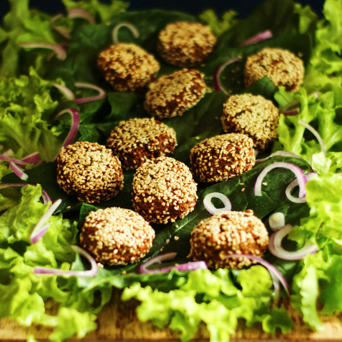 Falafel Salad with Cashew Turmeric Dressing