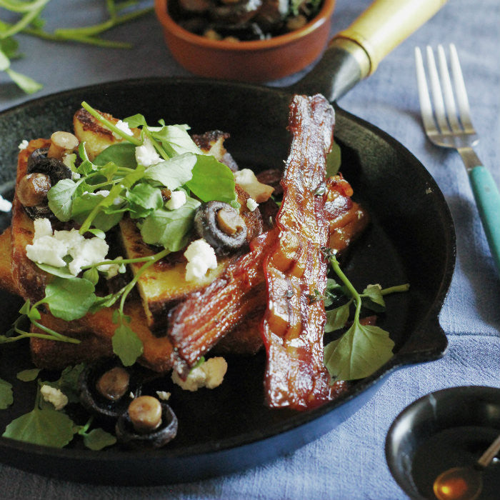 Burnt Butter French Toast with Maple Thyme Bacon, Mushrooms, Watercress and Goats Cherve