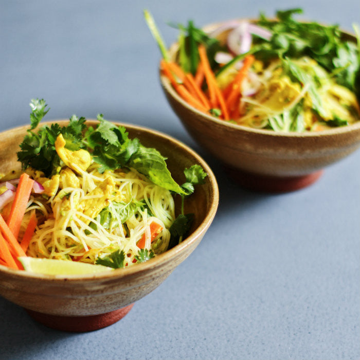Yellow Chicken Vermicelli Salad with Herbs and Turmeric Dressing